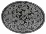 Large Oval Floral Design Belt Buckle with display stand. Code LH3